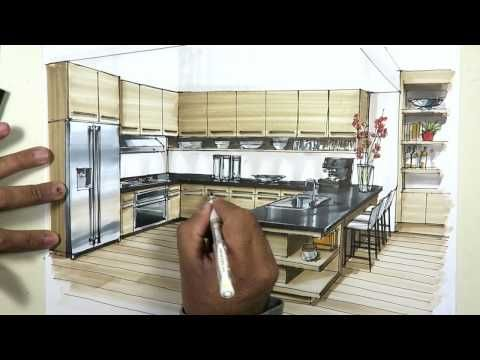 Manual Rendering Architecture Interior Speed Drawing YouTube