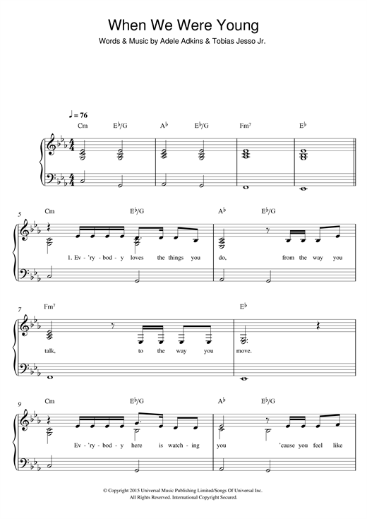 Adele When We Were Young Easy Piano Sheet Music Notes Chords
