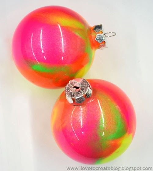 Marble Balls Decoration Ilovetocreate Blog Diy Neon Marble Paint Holiday Ornaments