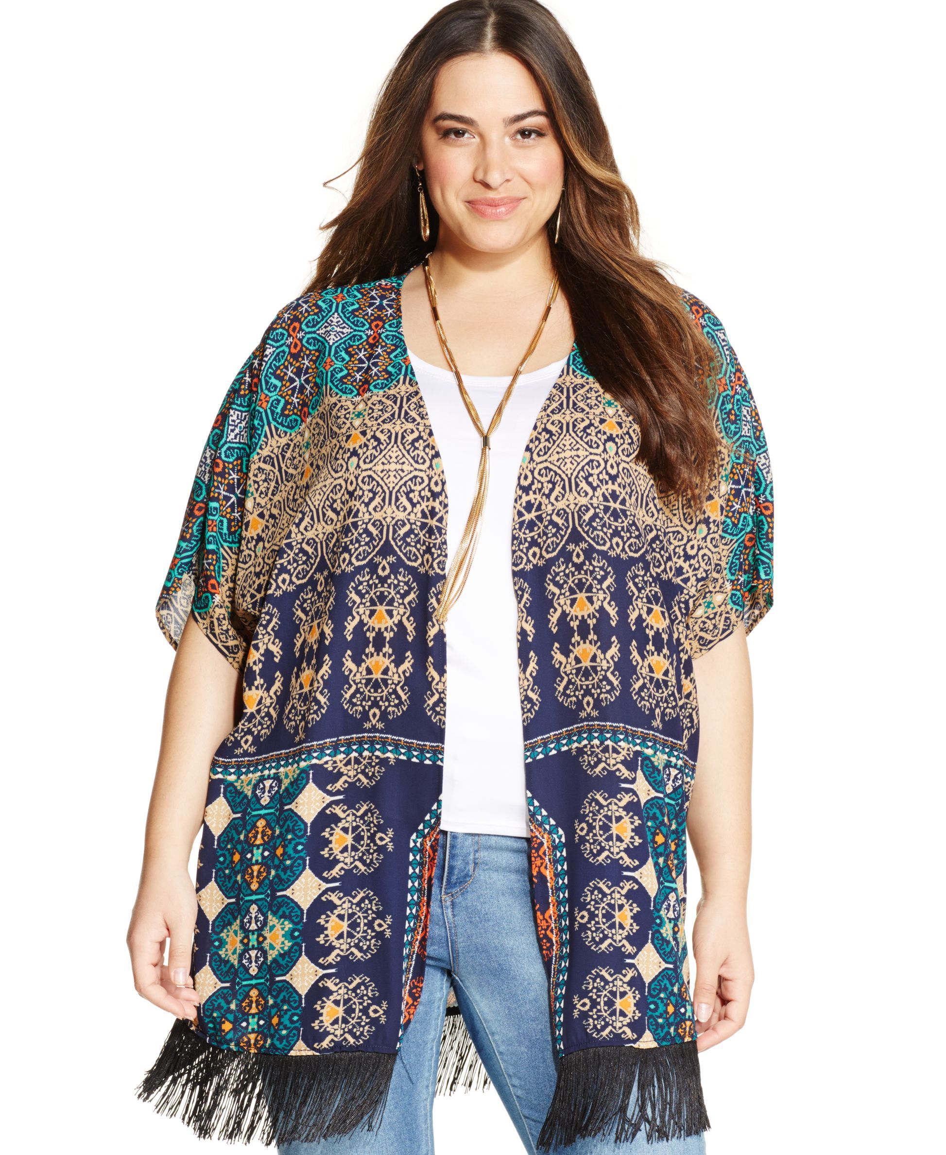 NY Collection Plus Size Printed Fringe Kimono Cardigan-$59.00 | I ...