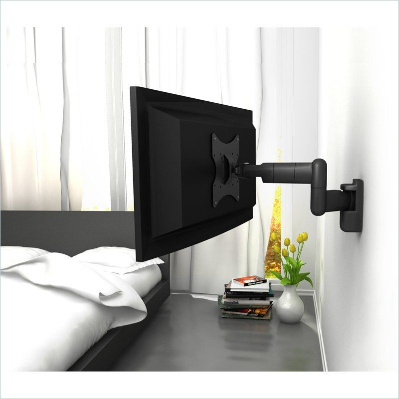 Corliving Black Metal Full Motion Wall Mount For 18 32 Tvs Bedroom Tv Wall Wall Mounted Tv Full Motion Wall Mount
