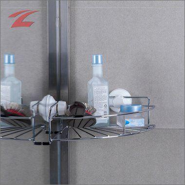 ZNL Duschablage mit zwei Power-Saugnäpfen Eckregal Bad Regal ohne ...
