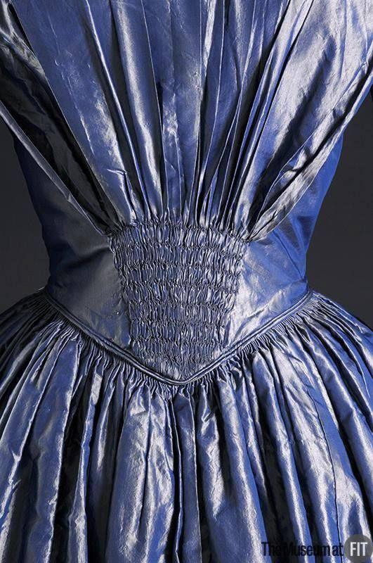 Wonderful tucking...Afternoon dress back detail ~ Blue shot silk ~ 1849