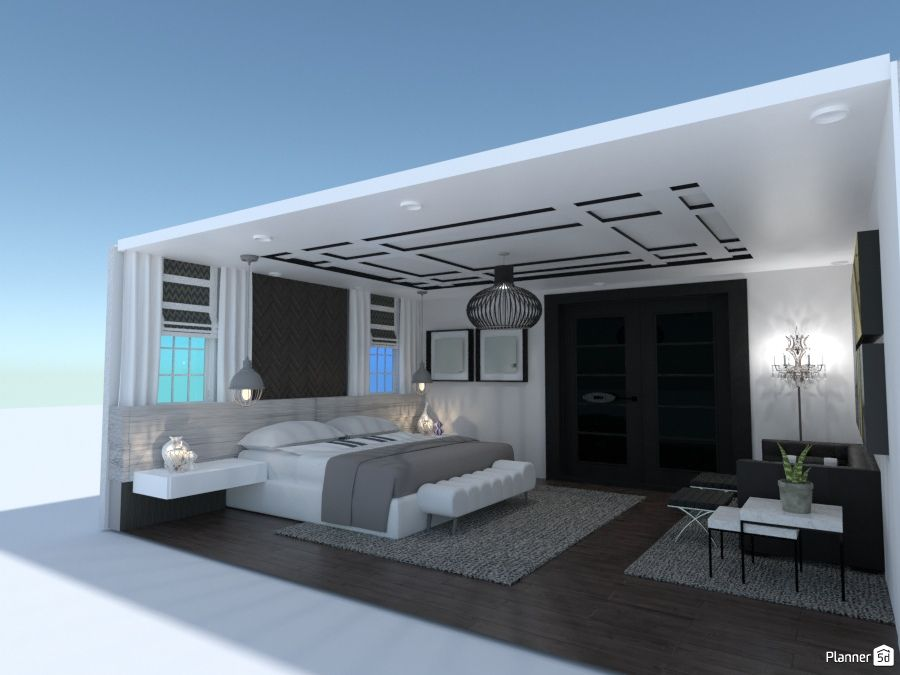 Black And White Bedroom Interior Planner 5d 3d Home