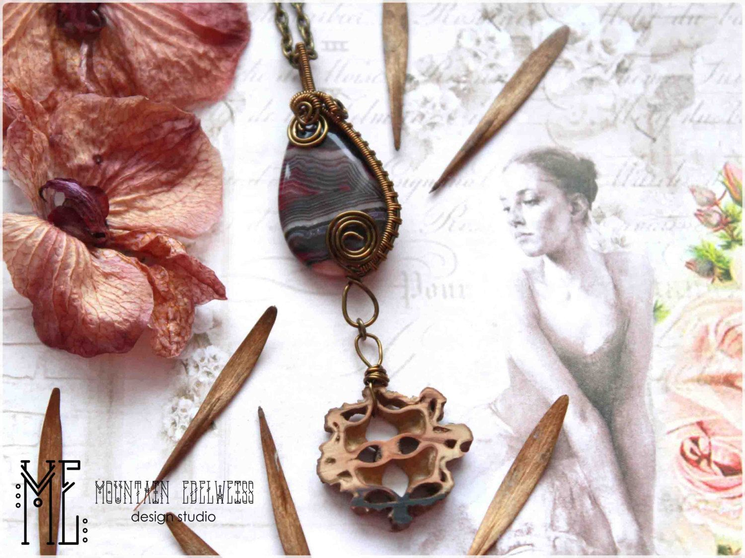 Bohemian wire wrap wire doodling necklace \