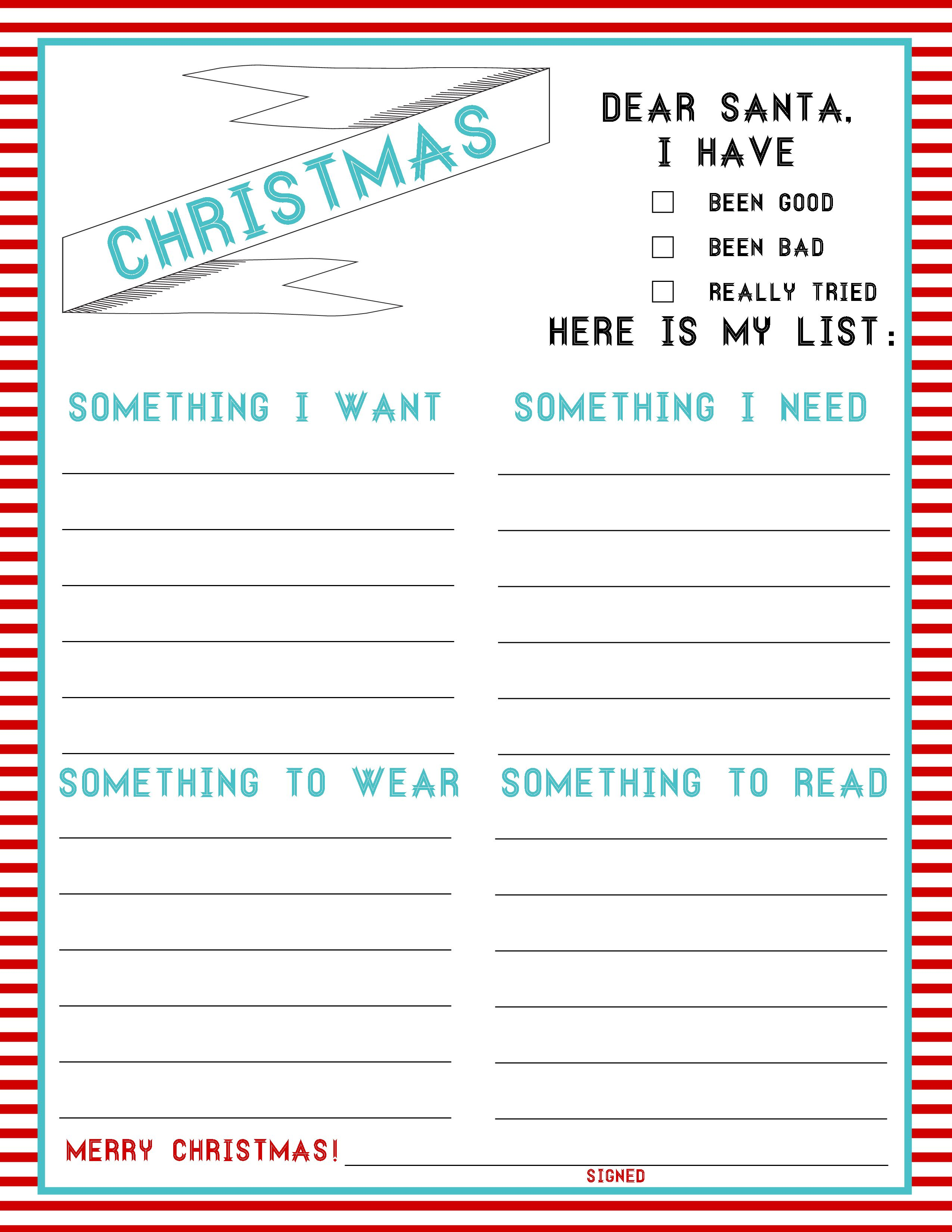 The Christmas List 4 Things Freebie Kids Christmas List Christmas List Printable Christmas Wishes