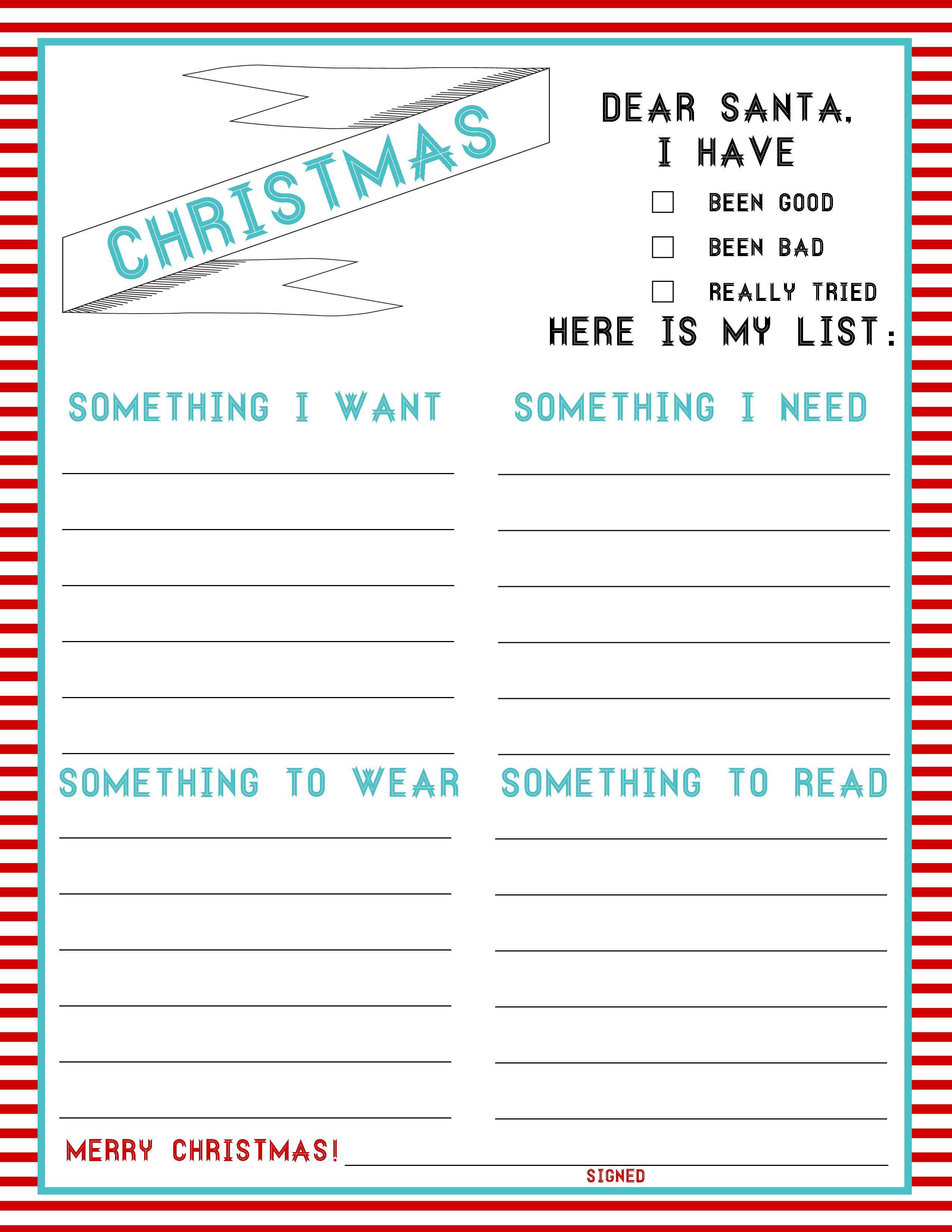 The Christmas List 4Things (FREEBIE) Whittling