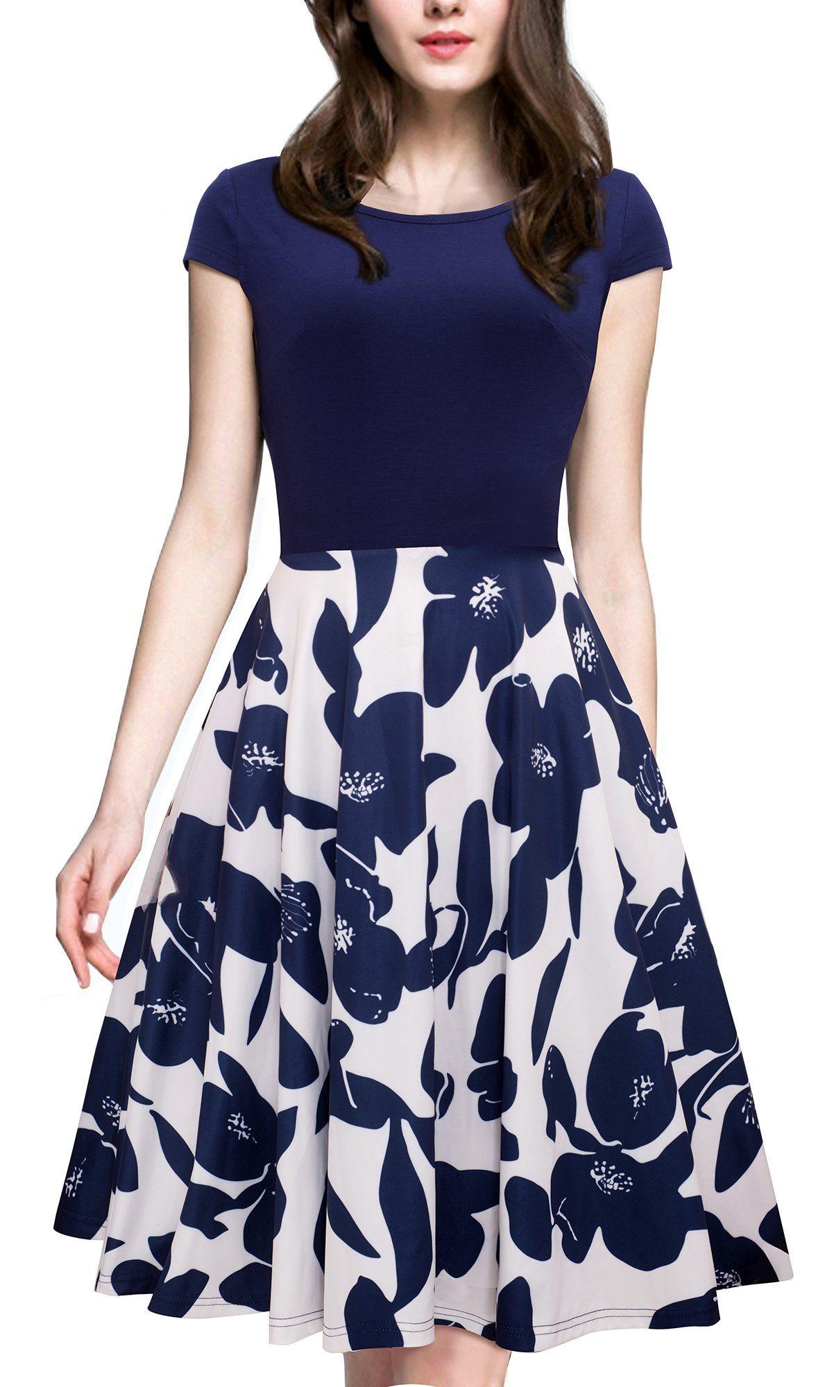 Amazon.com  HOMEYEE Women s 1950s Vintage Elegant Cap Sleeve Swing Party  Dress A009  Clothing    giftryapp 7d176f841d