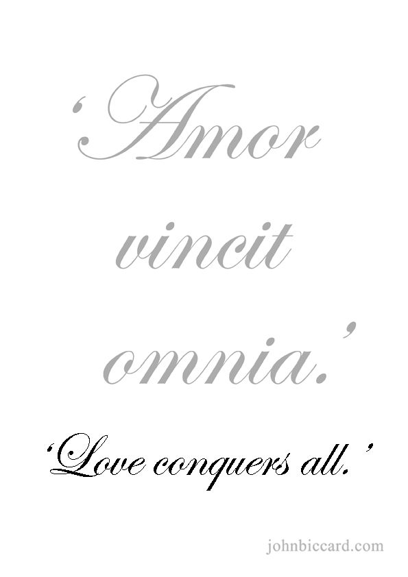 Love conquers all.' | French tattoo quotes, Short quote ...
