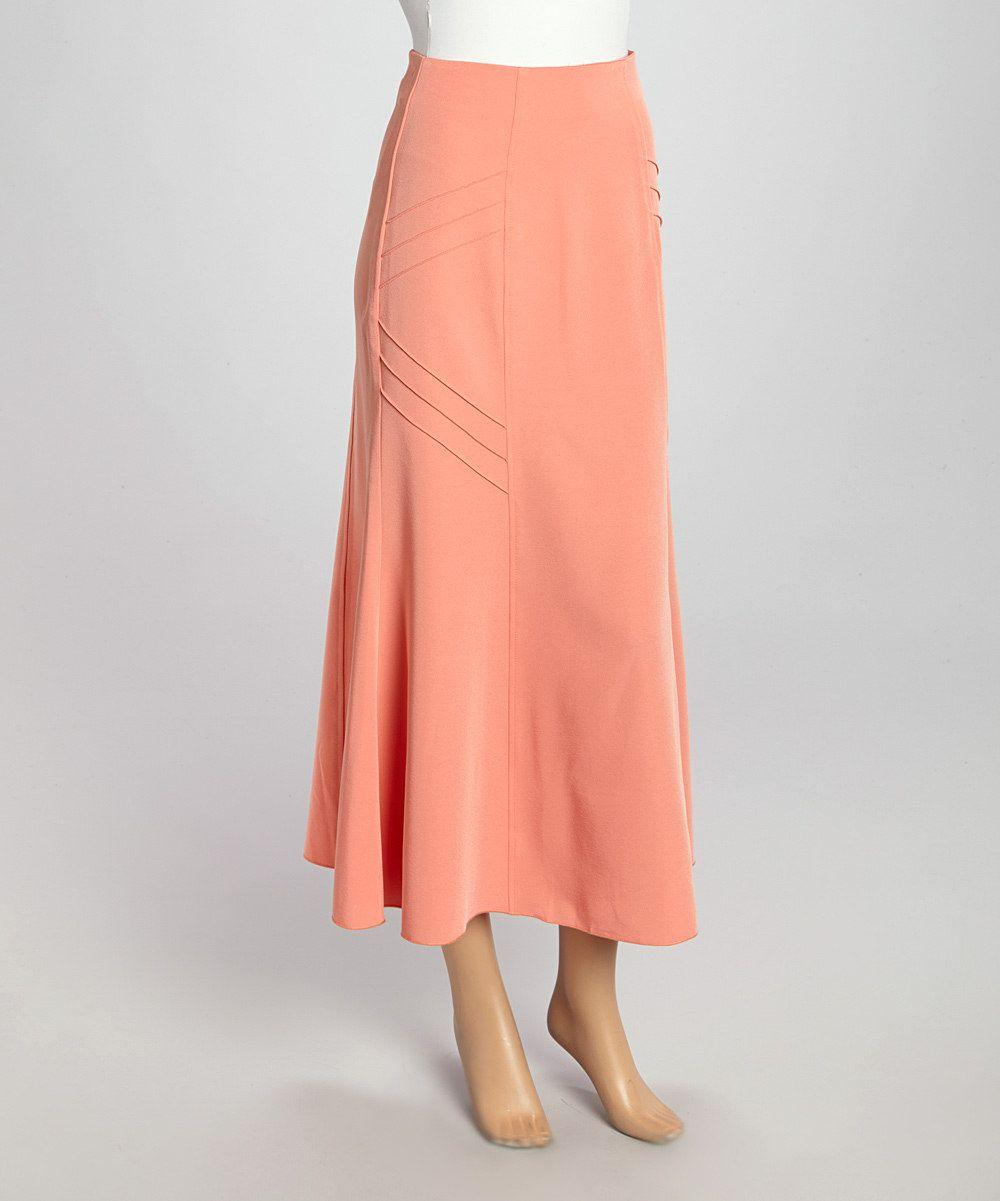 Peach maxi skirt women u plus zulily small mission skirt