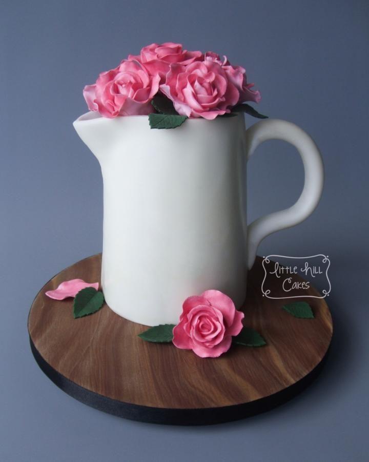 Jug Of Roses Cake Rose Cake Flower Pot Cake Cake