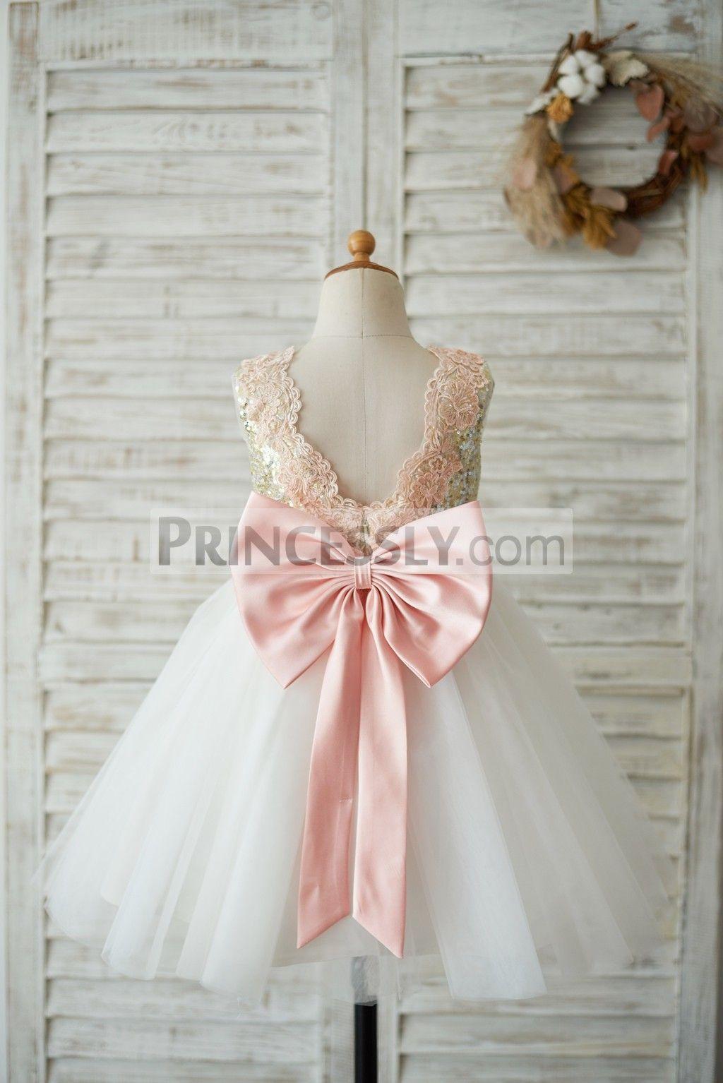 5ea3b6b56 Gold Sequin Ivory Tulle V Back Wedding Flower Girl Dress with Pink Lace  belt SKU: K1003540 Buy Now: #flowergirldress #pinkdress #lacedress