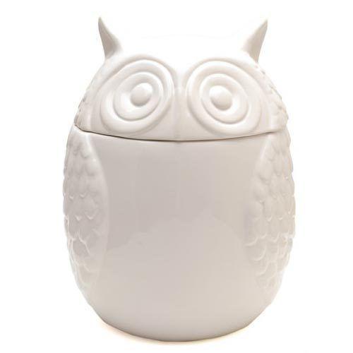 Vintage White LARGE Owl Storage Container Ceramic Cookie Sweetie Jar