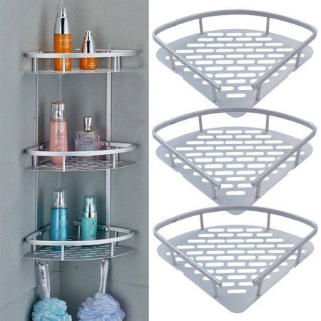 3 Tier Shower Shelf Aluminum Bathroom Shower Corner Shelf Triangle Wall Shelves Storage Organizer For Towels Soap Shampoo Lotion Accessories Walmart Com In 2021 Shower Corner Shelf Shower Shelves Shower Rack