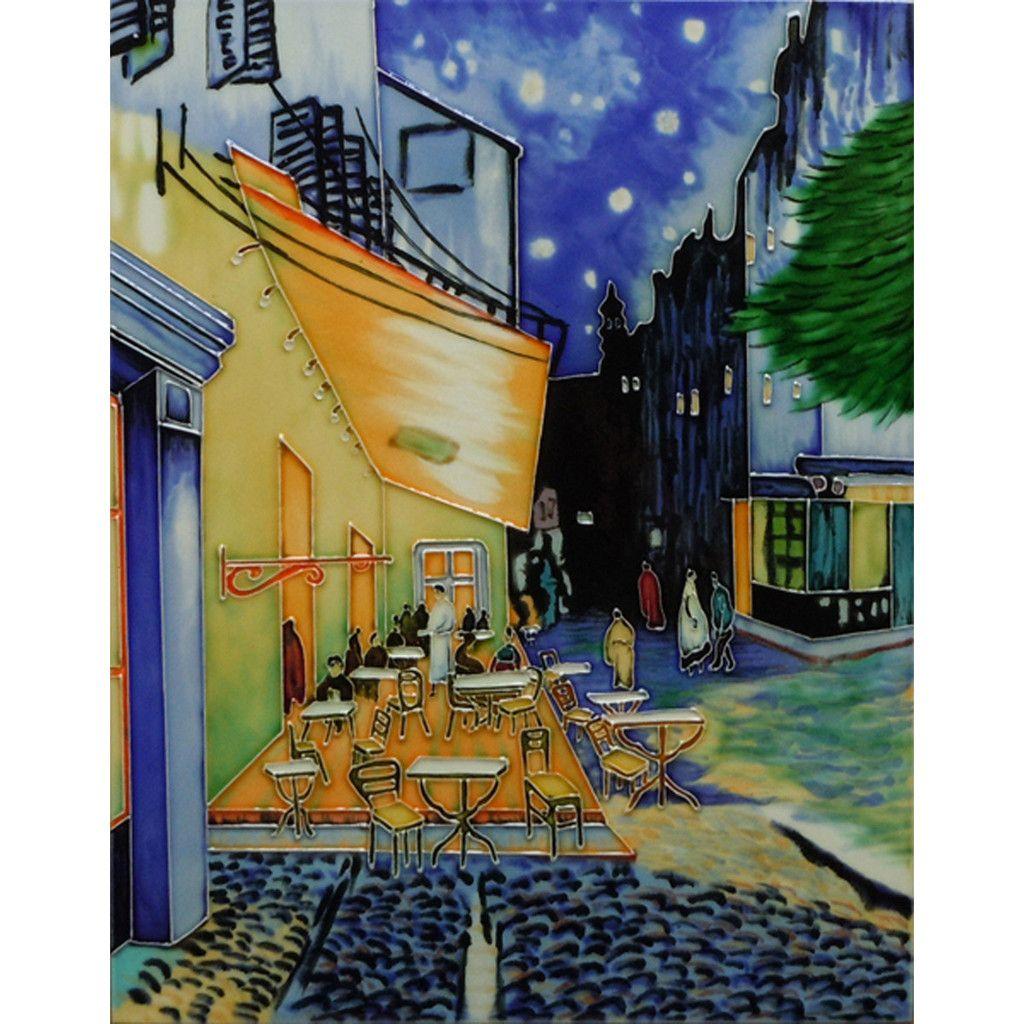 café terracenight decorative ceramic tilevan gogh   street