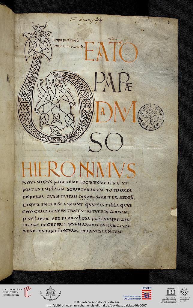 Vatikan, Biblioteca Apostolica Vaticana, Pal. lat. 46 Evangeliarium (linksrheinisches Gebiet (?), 2. Viertel 9. Jh.)