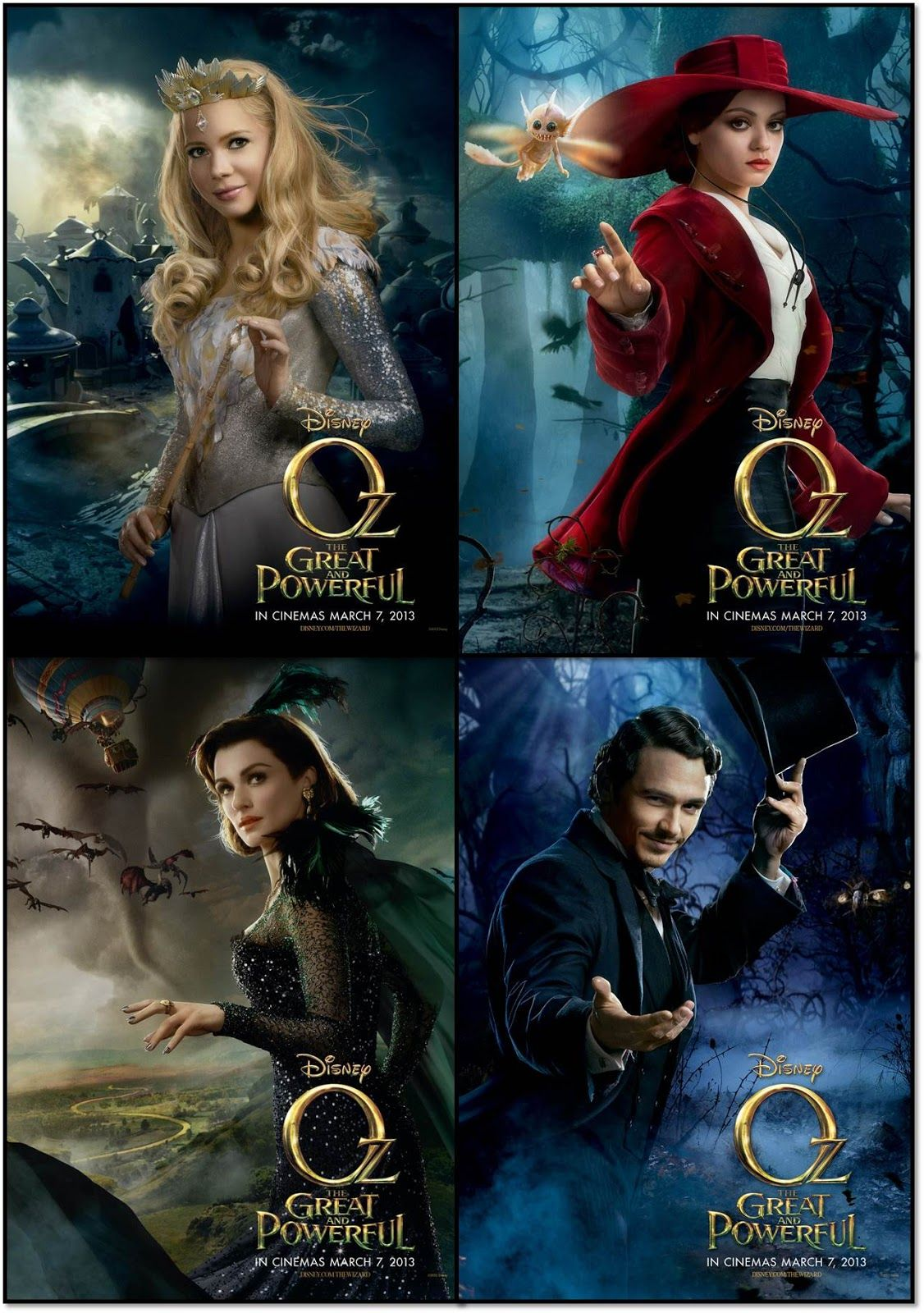 oz the great and powerful james franco rachel weisz mila kunis and michelle williams. Black Bedroom Furniture Sets. Home Design Ideas