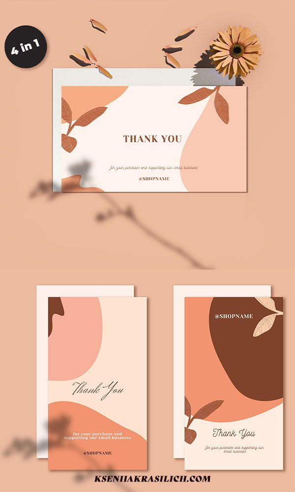 4 In 1 Thank You For Your Order Printable Card Instant Download Diy Boho Card Editable Modern Thank You Note Insert Cards Template Kartu Nama Bisnis Kartu Nama Ide Presentasi