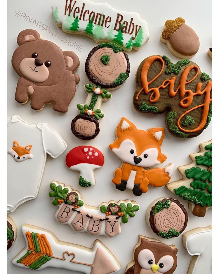 """Pinar's Patisserie on Instagram: """"When you took 300 photos and want to post them all 🙈☺️ . . . Woodland baby shower 🐿🦡🐇🦔🦝🦊🐻🐼🐰🌲🍄 . . . . . . . . . . #woodlandcookies…"""""""