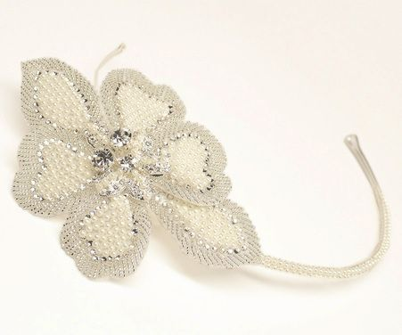 1920's vintage inspired beaded flower side accent bridal headband by Hair Comes the Bride  - Bridal Hair Accessories & Jewelry - www.HairComestheBride.com