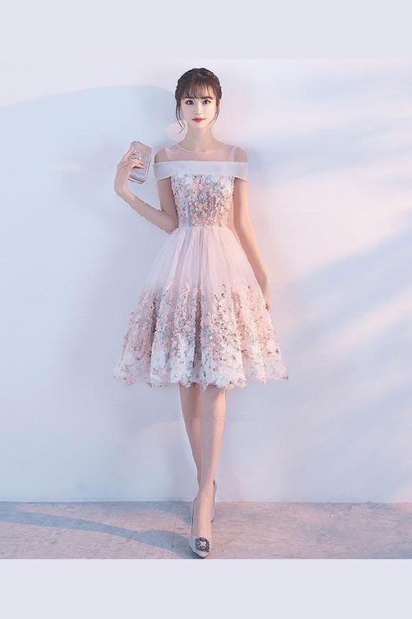 Custom Made Colorful Prom Dresses Pink, Prom Dresses Short, Lace Prom Dresses