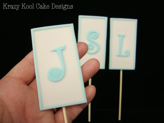 Monogram Cake Toppers by KrazyKoolCakeDesigns on Etsy, $30.00