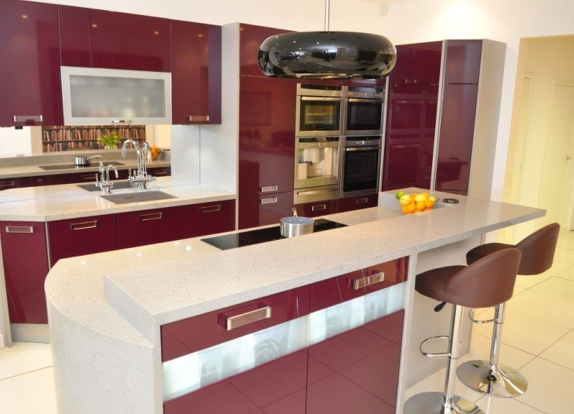Gorgeous Modern Purple And White Themed Kitchen Design Features Fabulous Black Gl Shade Pendant Lamp Over