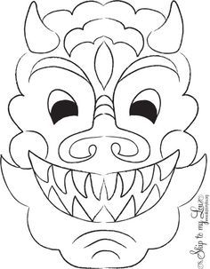 free chinese new year dragon mask color page print on cardstock and cutout for mask - Chinese Dragon Head Coloring Pages