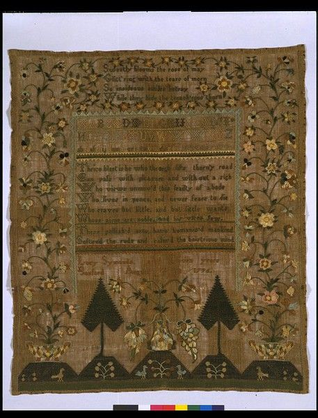 Sampler embroidered by Luch Symonds (1785-?), in Massachusetts USA, dated 13/08/1794 linen embroidered with silk. satin, surface satin, cross and chain stitch