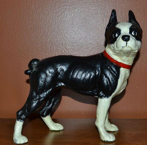 Vintage Cast Iron Boston Terrier Dog Door Stop Bulldog Statue Decor