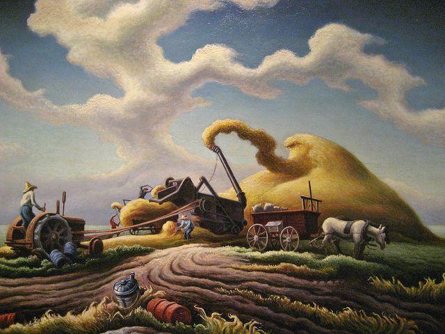 Dawn On The Farm Rice Harvest Art Thomas Thomas Hart Benton Thomas Hart Benton Paintings