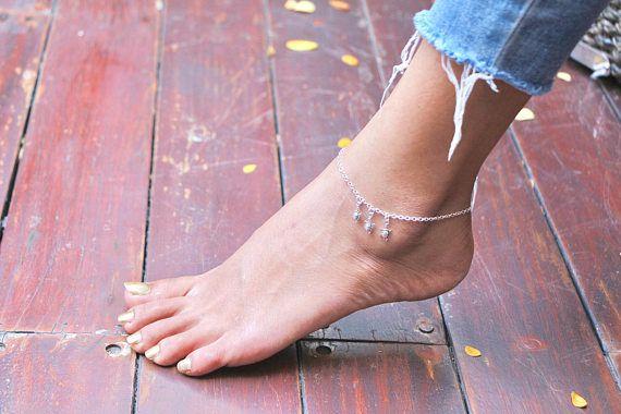 Silver Anklet Turtle Charm Anklet Delicate Anklet Foot