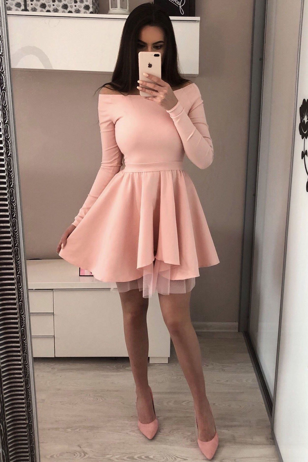 A Line Long Sleeve Blush Pink Off the Shoulder Satin Short Homecoming Dresses - Long sleeve homecoming dresses, Short red prom dresses, Red homecoming dresses, Pink homecoming dress, Red prom dress, Black homecoming dress - A Line Long Sleeve Blush Pink Off the Shoulder Satin Short Homecoming Dresses, SSA, This dress could be custom made, there are no extra cost to do custom size and color