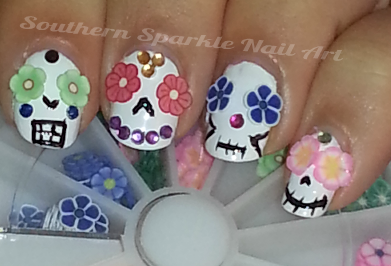 Southern Sparkle on Lacquer: The Best Medicine! Fimo Slice Sugar Skulls