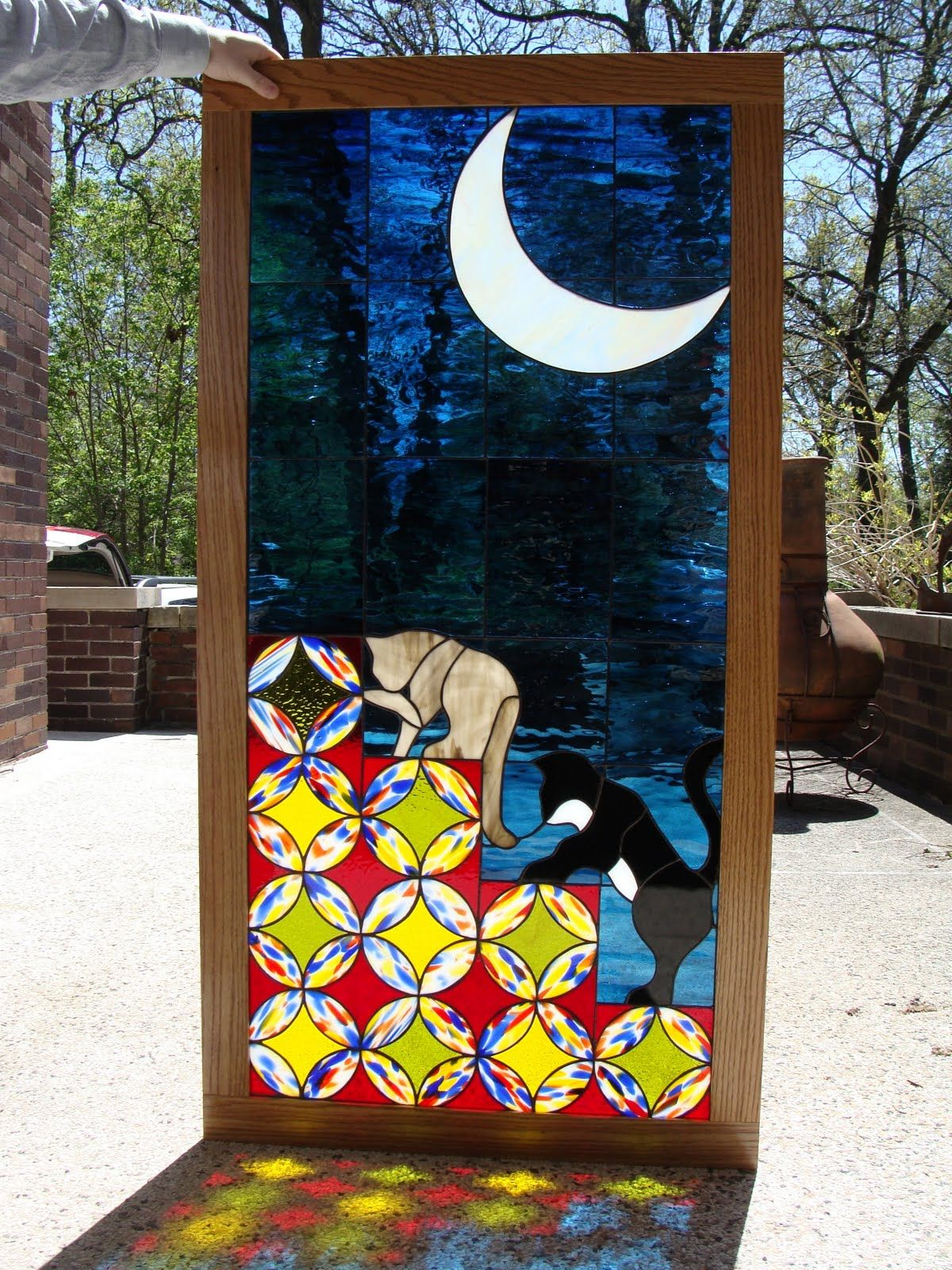 Cats, quilt blocks, crescent moon by Ruth Elizabeth