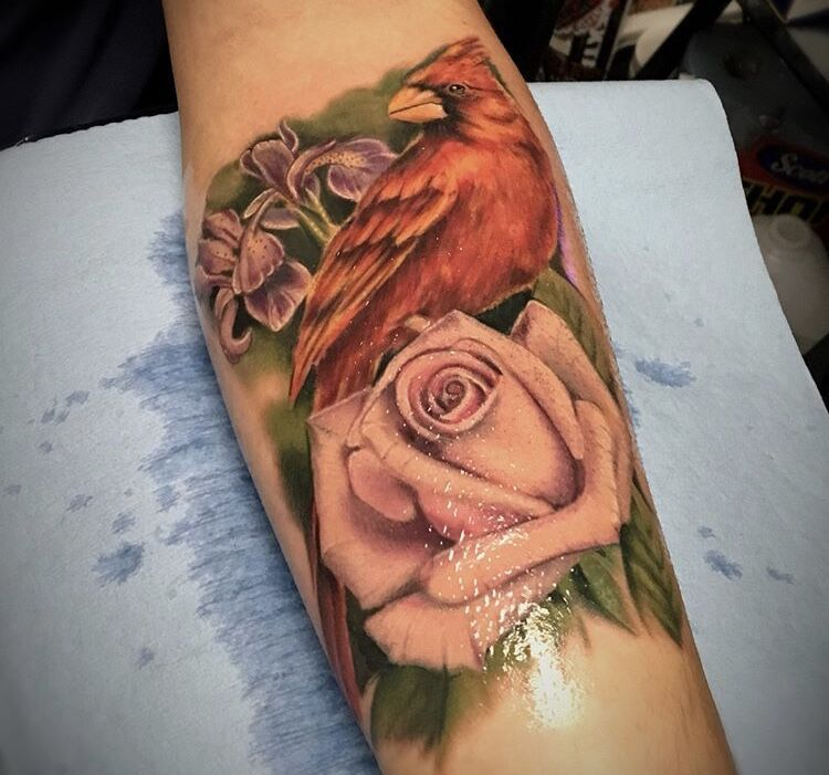 Cardinal and rose tattoo done by nate call or message to