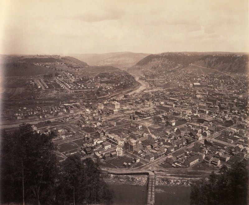 Johnstown, from Westmont (II-197)By 1891 Johnstown had begun to rebuild and return to normal after the devastating 1889 flood. Rau took his camera to the top of the Inclined Plane at Westmont.