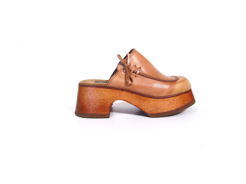 169d5b62d6a Vintage 90s CANDIES Tanned Beige Leather Platform Clogs women 6 6.5 wooden  heel retro hippie hipster minimalist hip hop high heel Brazil pop by ...