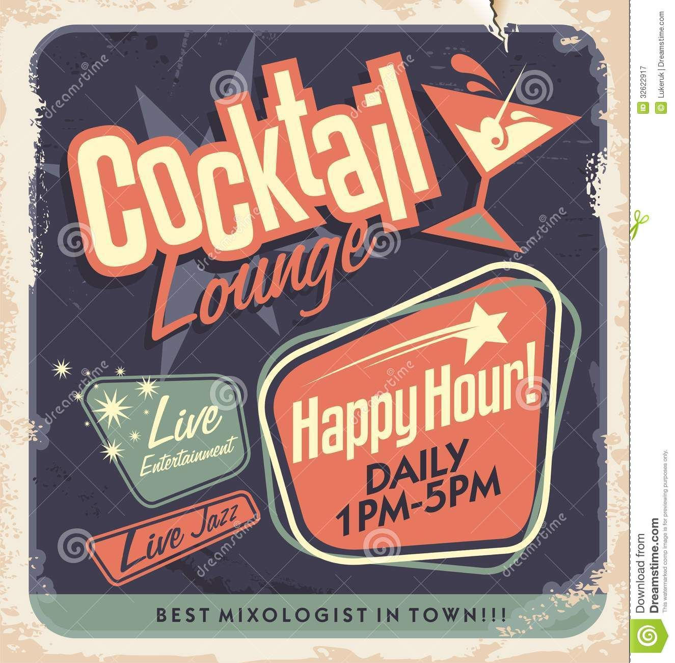 Poster design vector download - Retro Poster Design Cocktail Lounge Party Vector Concept