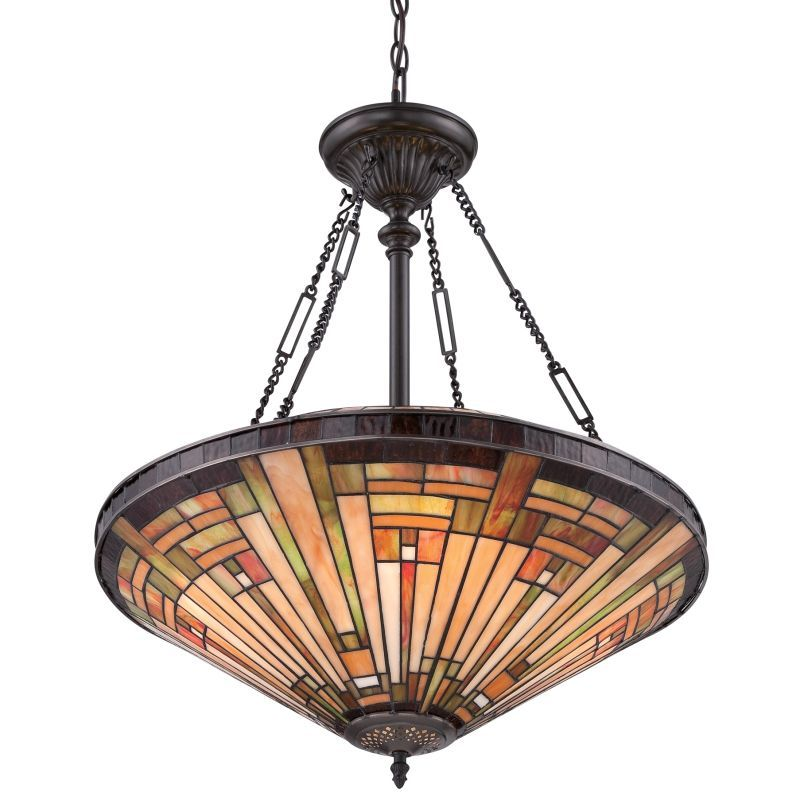Quoizel Tfst2822vb Vintage Bronze Stephen 4 Light Bowl Pendant With Tiffany Stained Glass Lightingdirect Com In 2020 Clear Glass Pendant Light Bronze Pendant Light Tiffany Stained Glass