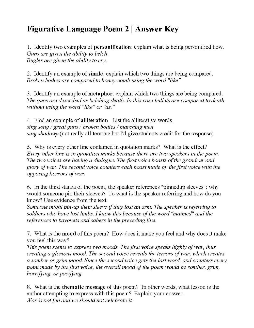 hight resolution of Figurative Language Poem 2: I Sing the Battle by Harry Kemp   Answers   Figurative  language poems