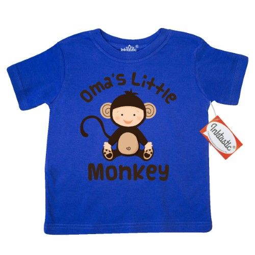 Inktastic Oma's Little Monkey Toddler T-Shirt Oma Grandmother Grandma Grandkid Gift Grandparents Tees. Child Preschooler Kid Clothing Apparel Hws, Size: 3T, Blue
