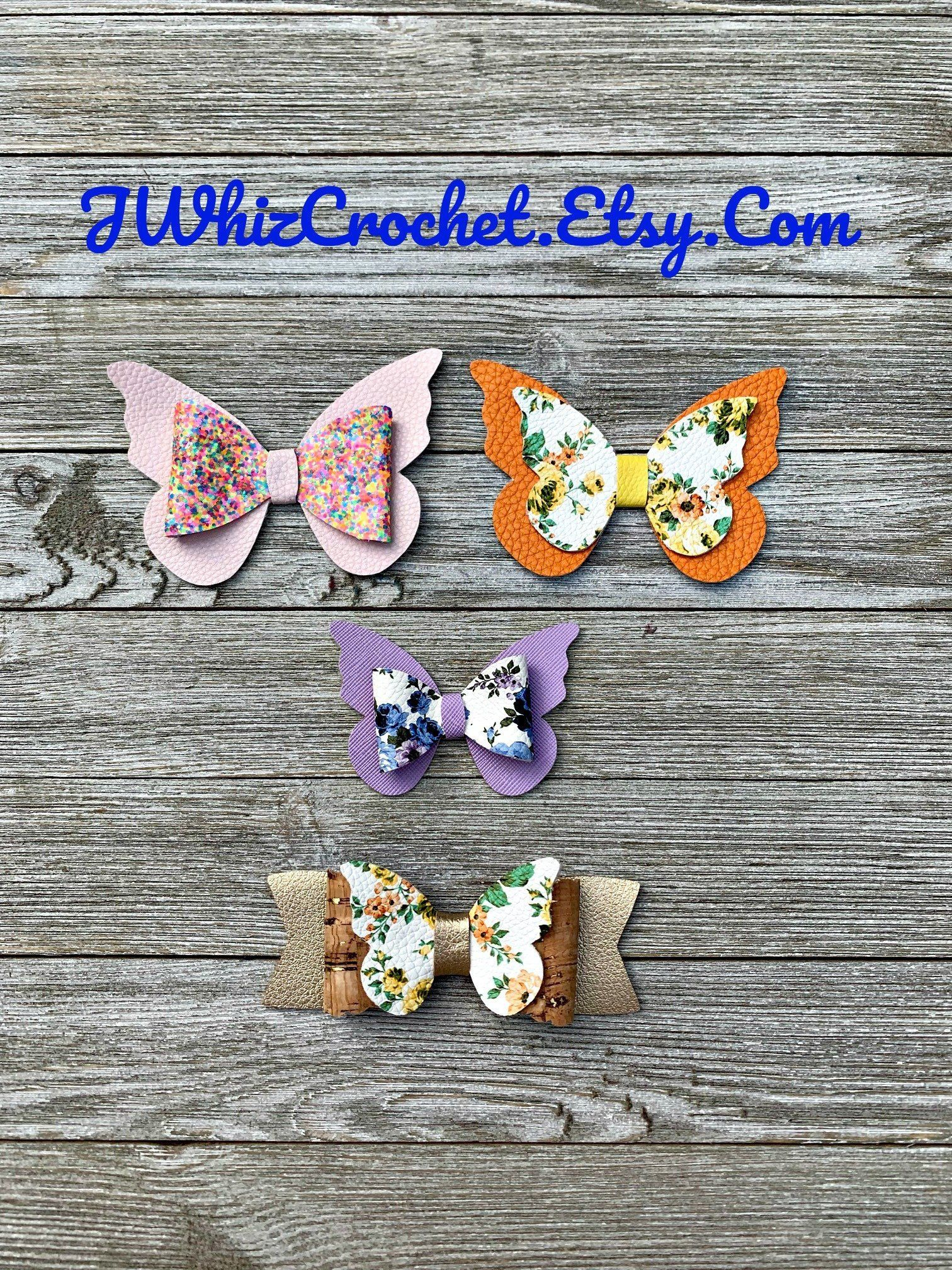 414ef25b0a7ed Butterfly Bow, Butterfly Hair Clip, Faux Leather Bow, Faux Leather ...