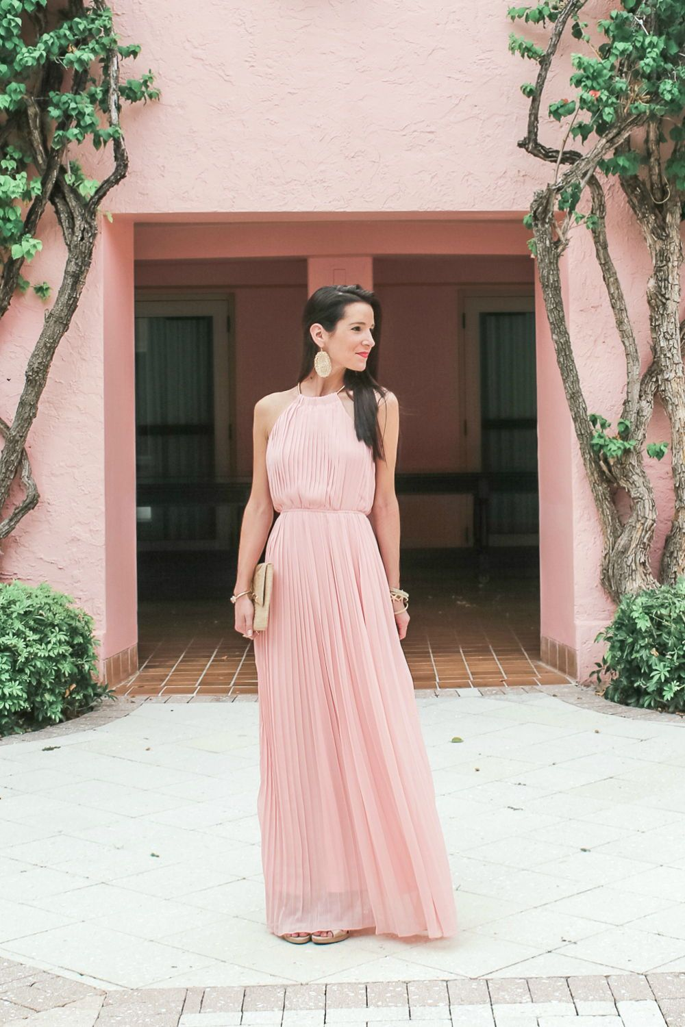 Pink pleated maxi dress at the boca raton resort in my closet