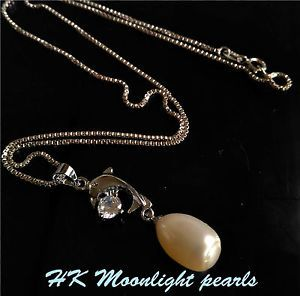 Genuine White Freshwater Pearl(10x12mm) with dolphin zircon Pendant Necklace | eBay