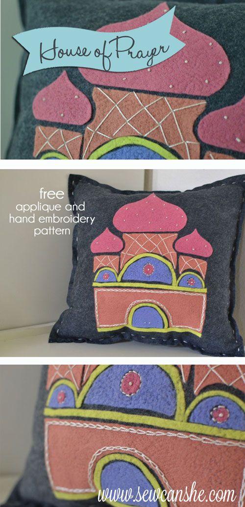 House of Prayer Folk Art Pillow free applique and hand embroidery pattern & House of Prayer Folk Art Pillow free applique and hand embroidery ... pillowsntoast.com