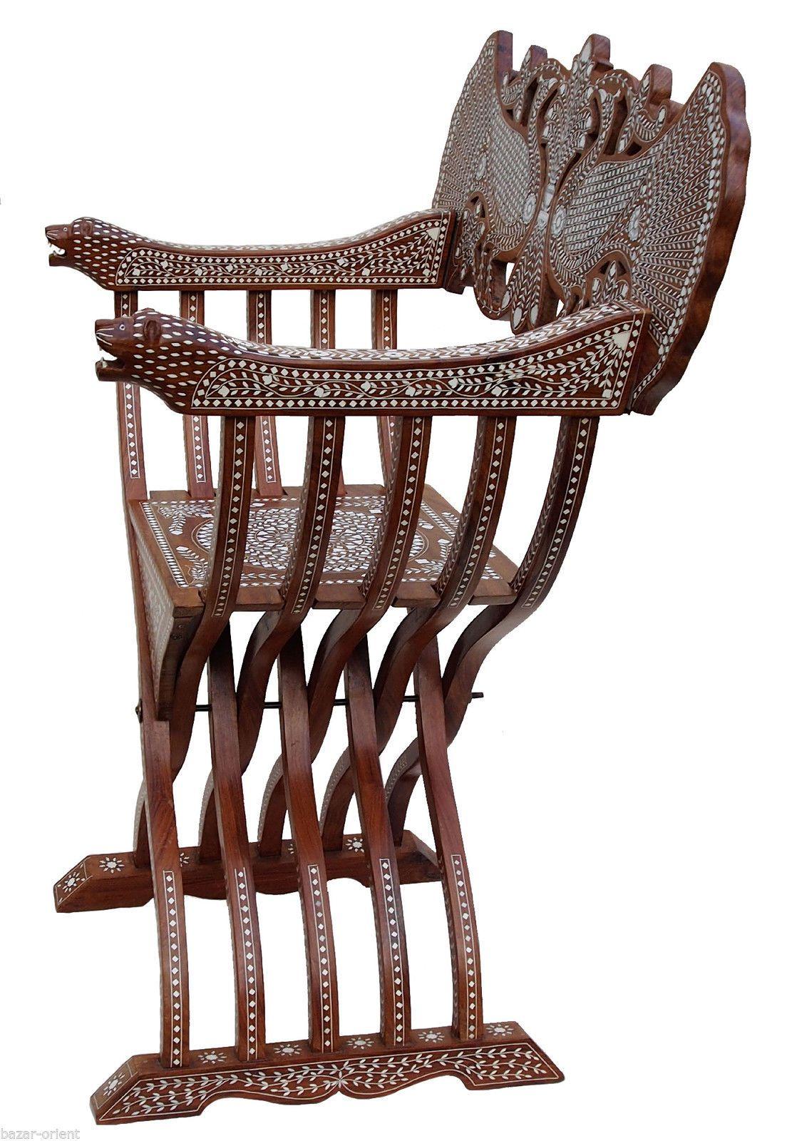 Modern savonarola chair - Antik Luxuri Se Orient Stuhl Intarsien Antique India Anglo Savonarola Chair Ebay