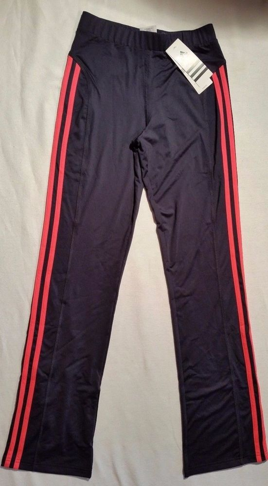 Adidas Pants NWT ClimaLite Yoga Athletic Stretch Black Pink