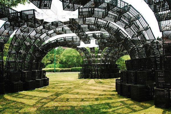 Green Box Architecture plastic box pavilion simply architecture pavilion