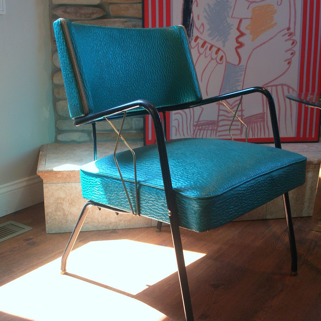 VINTAGE ART DECO Style 1950s Chair Mid Century Modern Upholstered ...
